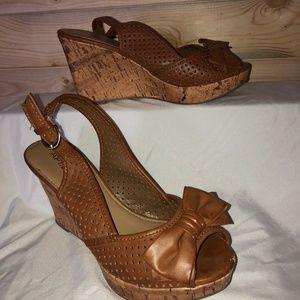 Cork Wedge heels, never worn, size 8, Apt 9